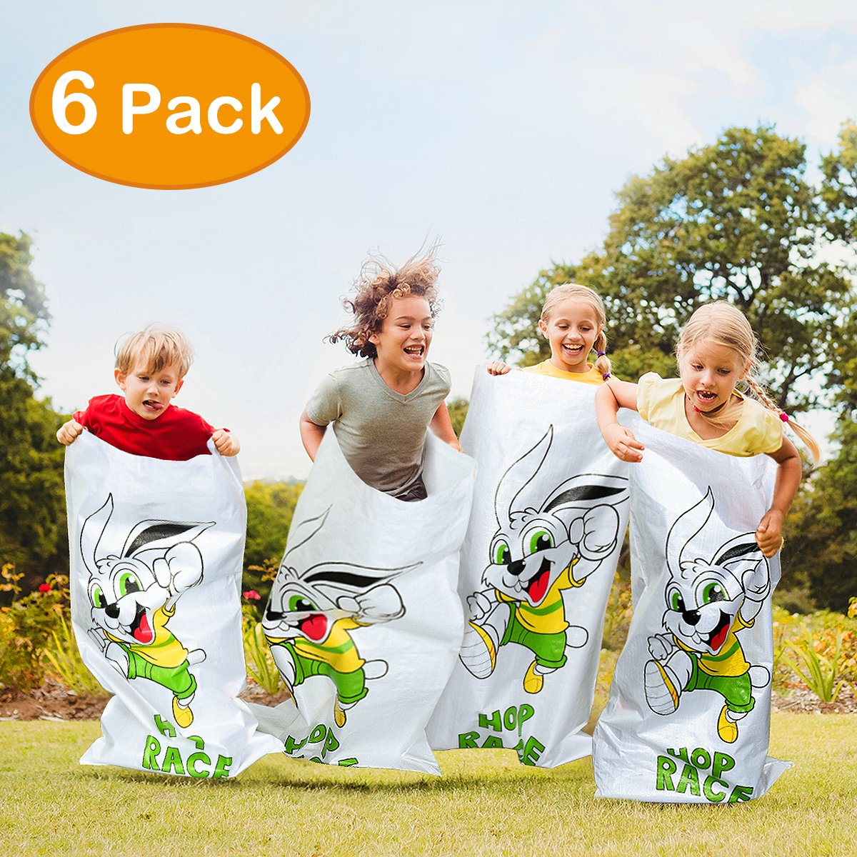 iBaseToy Easter Bag Birthday Party Games 6 Pcs Potato Sack Race Game 24''x41'' Luau Hop Party Activity