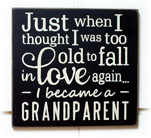 Grandkids First Grandparents Kids Chic Shabby Cute Wood Sign Rustic Home Decor