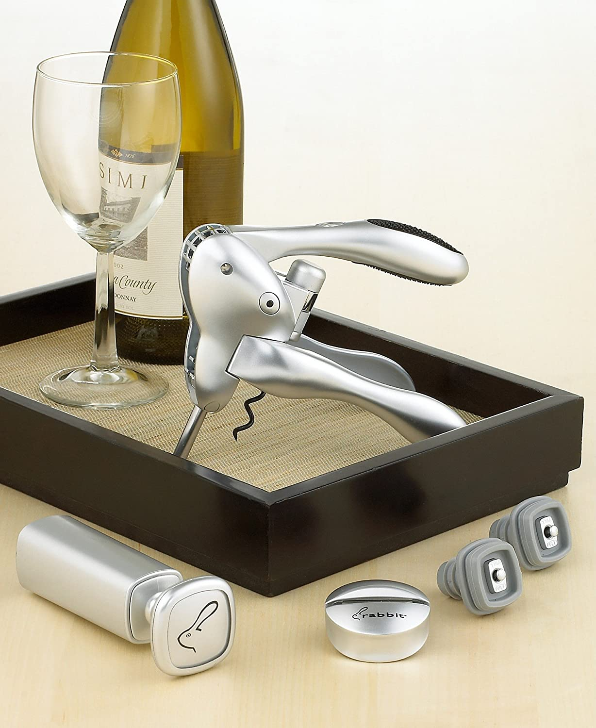 Rabbit Corkscrew and Wine Preserver 6-Piece Set by Metrokane