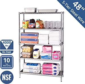 """Seville Classics WEB562 UltraDurable Commercial-Grade 5-Tier NSF-Certified Steel Wire Shelving with Wheels, 48"""" W x 18"""" D x 72"""" H, Chrome"""