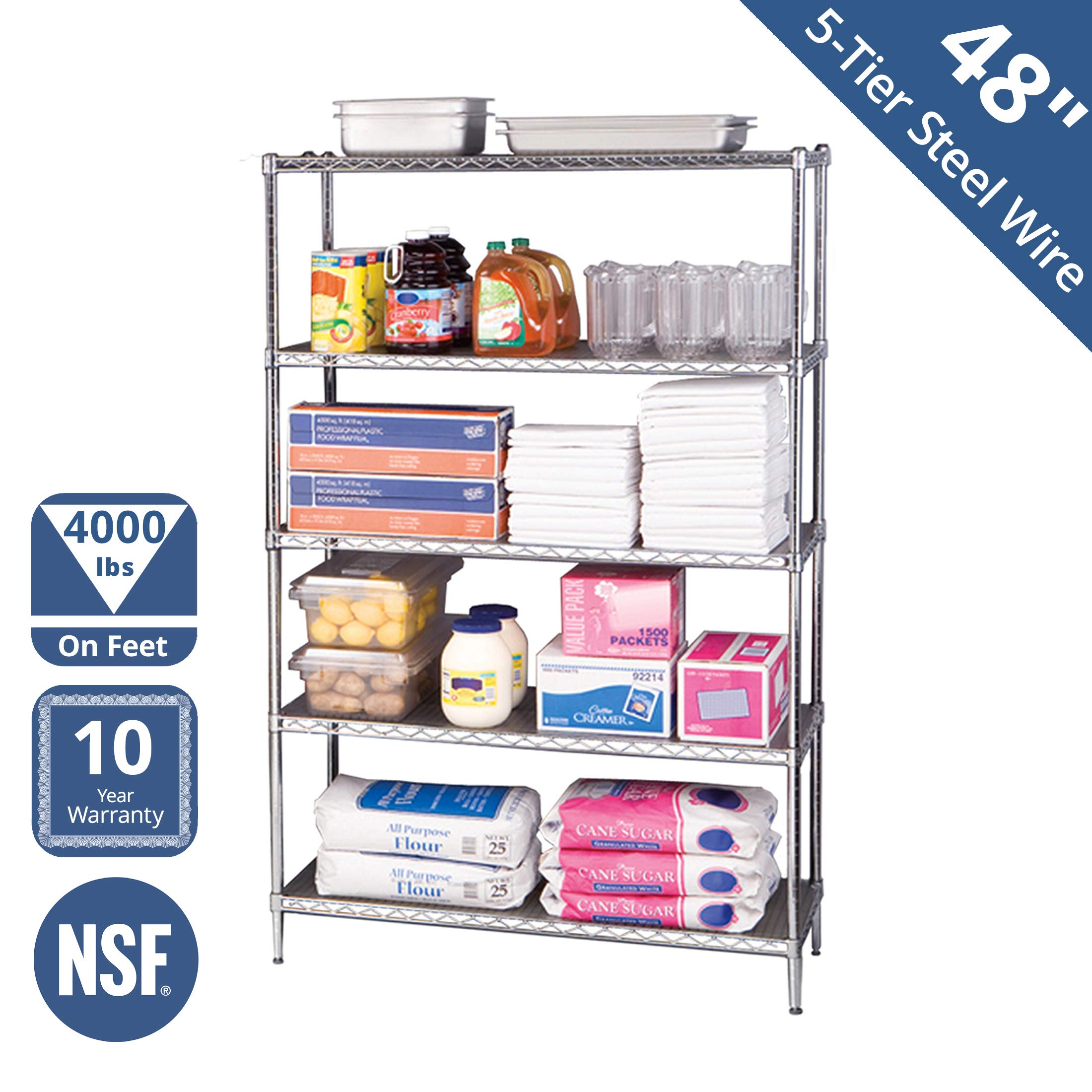 Seville Classics UltraDurable Commercial-Grade 5-Tier NSF-Certified Steel Wire Shelving with Wheels, 48'' W x 18'' D x 72'' H, Chrome by Seville Classics