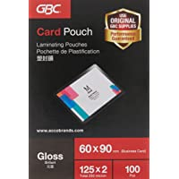 GBC 3743157 Card Laminating Pouches 125 Micron 60x90mm, Business Card with High Gloss Finish (Box of 100)