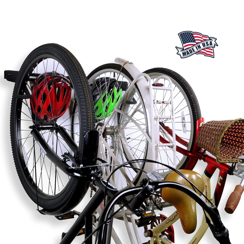 Koova 壁掛け自転車ストレージラック ガレージハンガー 自転車3台+ヘルメット用 大型クルーザー/大型タイヤマウンテンバイクにもフィット 高耐久パウダーコーティングスチール アメリカ製 3 Bike Rack B07Q5HZ21W  3 Bike Rack