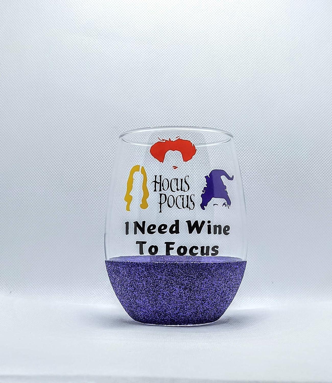 Halloween Gift Wine Lover Wine Drinker Gift Christmas Gift Friend Gift Hocus Pocus Inspired Glitter Stemless Wine Glass