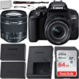 Canon EOS 800D (Rebel T7i) EF-S 18-55 mm f/4-5.6 is STM Lens Kit + Includes Free SanDisk Ultra 64GB SDXC Memory Card + Extended Life Replacement Battery + Lens Cap Keeper + Microfiber Cleaning Cloth