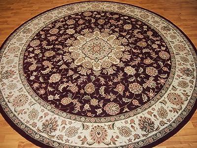 8'6'' X 8'6'' Medallion Traditional Persian Tabriz Black Round Wool & Silk Rug