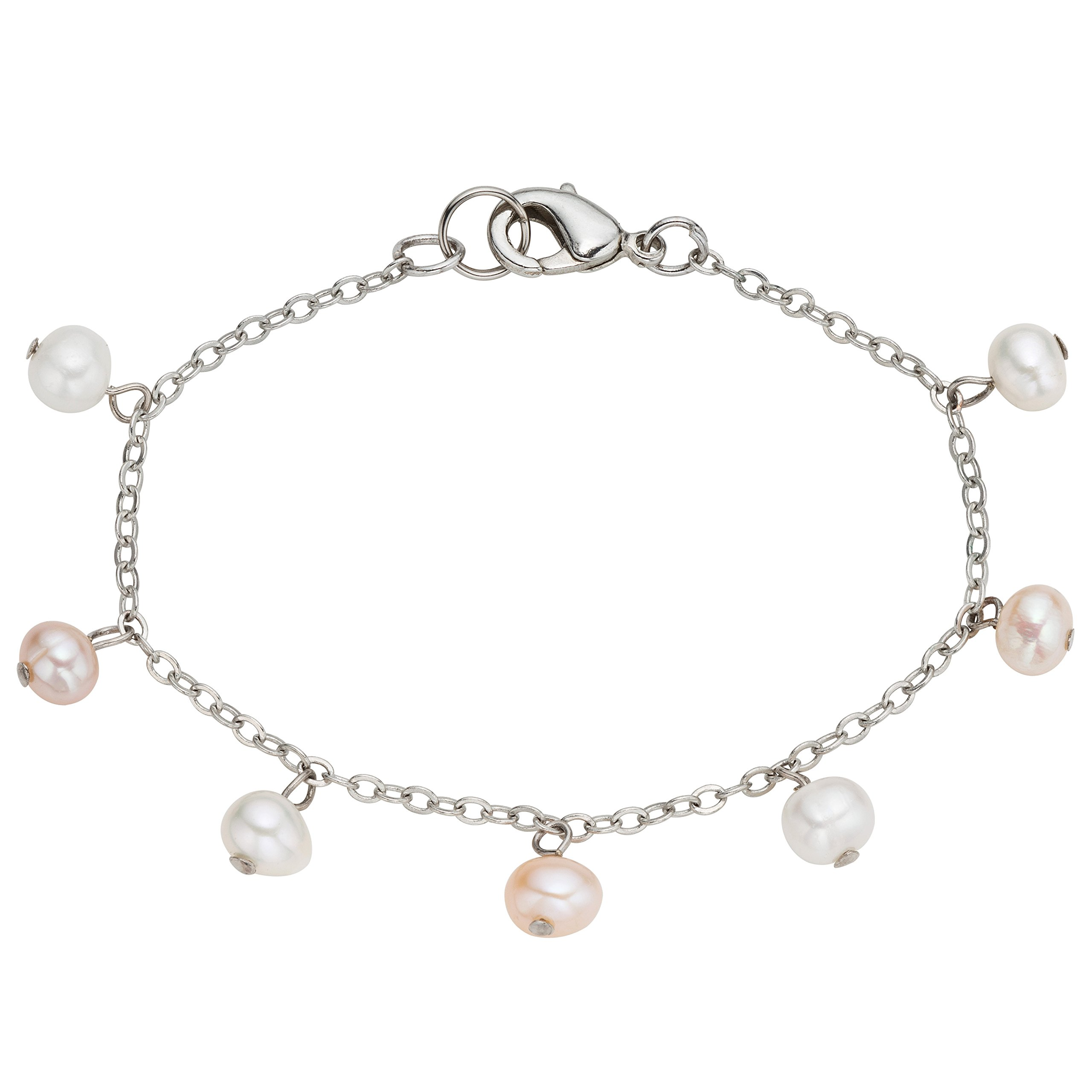 Stainless Steel Cultured Freshwater Multi-color Pearl Chain Kids Anklet (4-5 mm) Birthday Gift