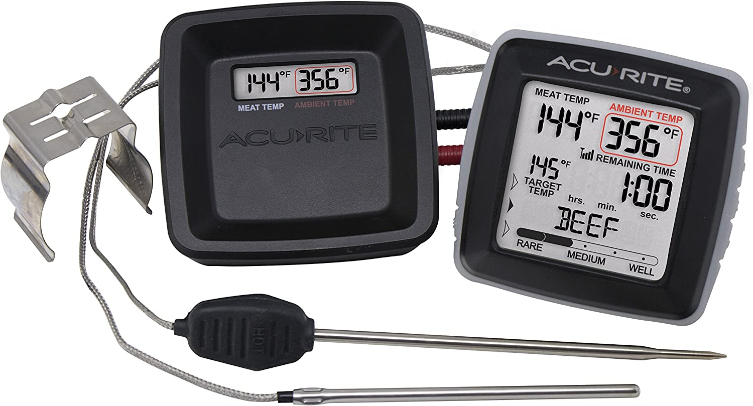 AcuRite 01185M Digital Meat Thermometer with Wireless Display and Time Left to Cook