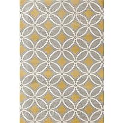 European Geometric Trellis Motif Area Rug, Pastel Geo Circles Diamonds Theme, Rectangle Indoor Hallway Doorway Bedroom Dining Area Sofa Patio Carpet, Modern Arches Design, Grey, Yellow, Size 7'6 x 9'6