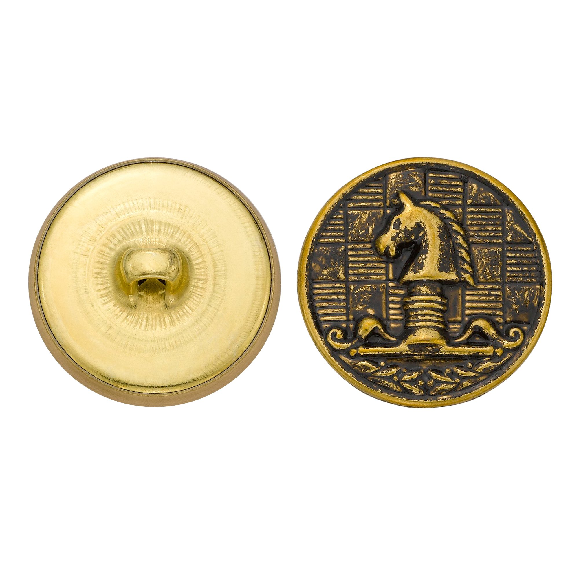 C&C Metal Products 5132 Horse Chess Piece Metal Button, Size 36 Ligne, Antique Gold, 36-Pack