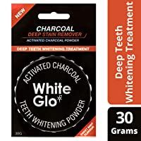 White Glo Activated Charcoal Teeth Whitening Powder, Highly Absorbent to Clean Deep Stains and Discolouration, Fresh Mint Flavour