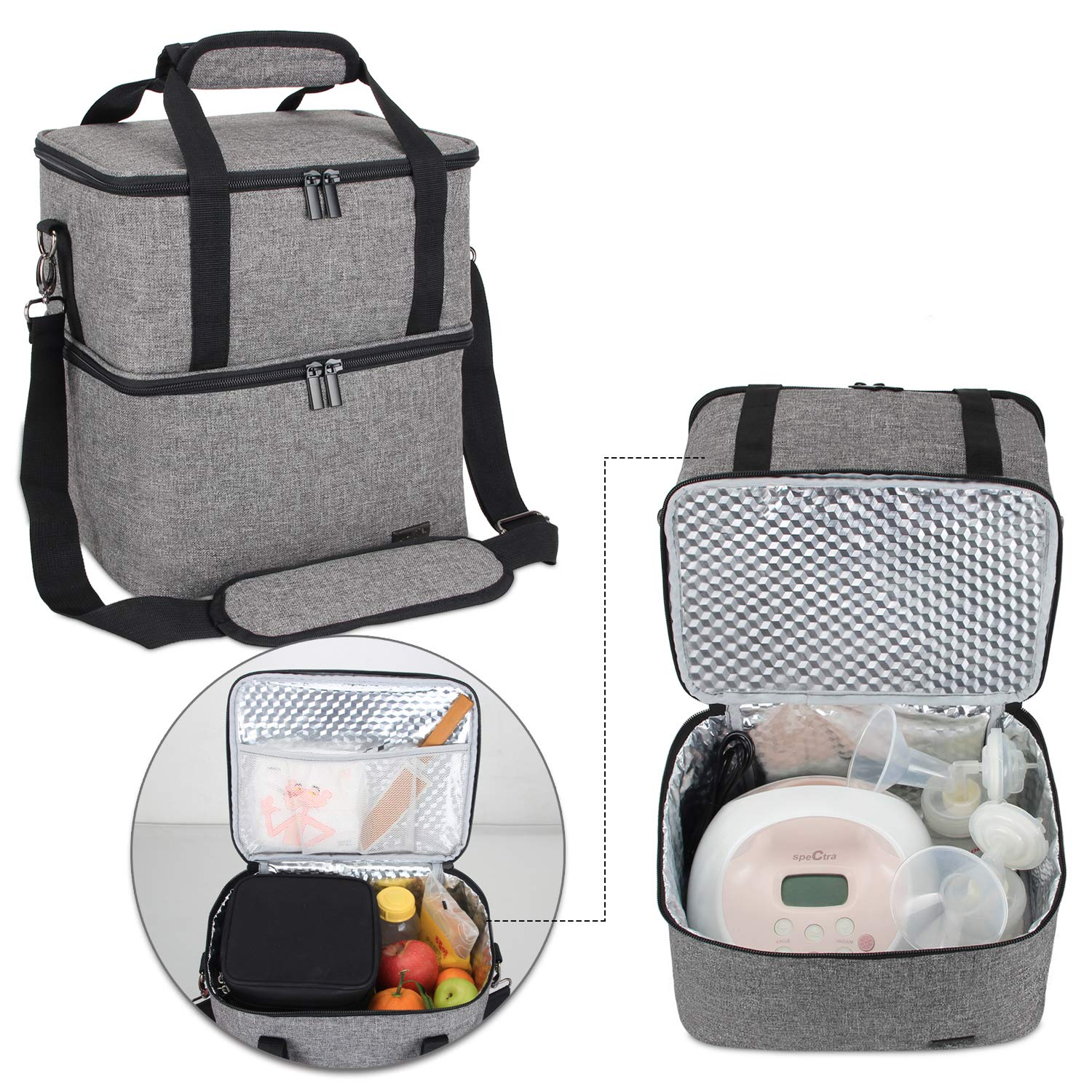 Luxja Breast Pump Bag with 2 Insulated Compartments for Breast Pump and Cooler Bag Fits Most Major Breast Pump Pumping Bag for Working Mothers Gray