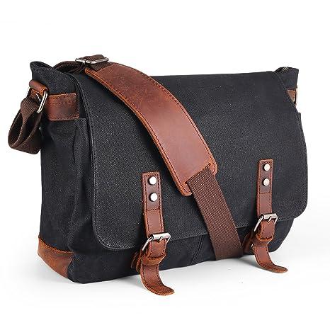 purchase newest new arrive good texture Waterproof Canvas Messenger Bag,Aizbo Men's Crossbody Shoulder Satchel Bag  Laptop Bag for 15 Inches, Large Size (Black)