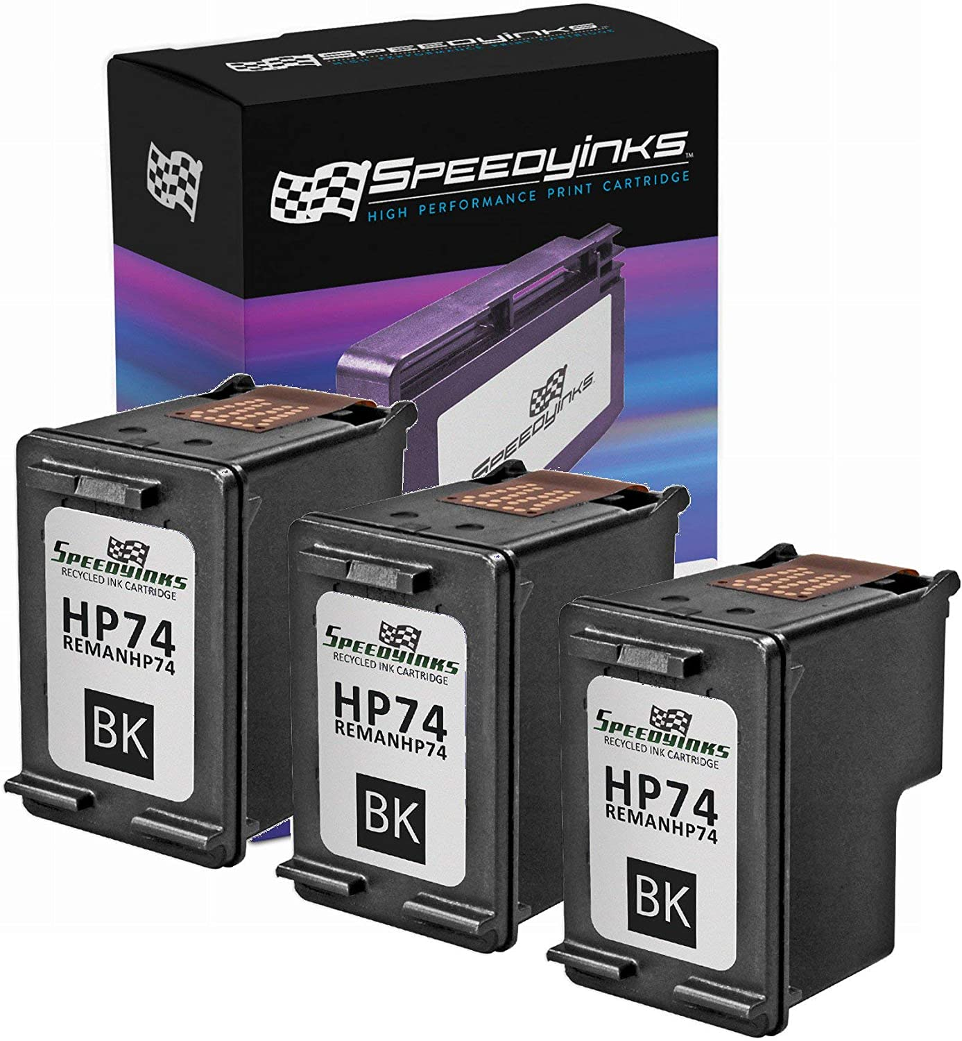Speedy Inks Remanufactured Ink Cartridge Replacement for HP 74 (Black, 3-Pack)