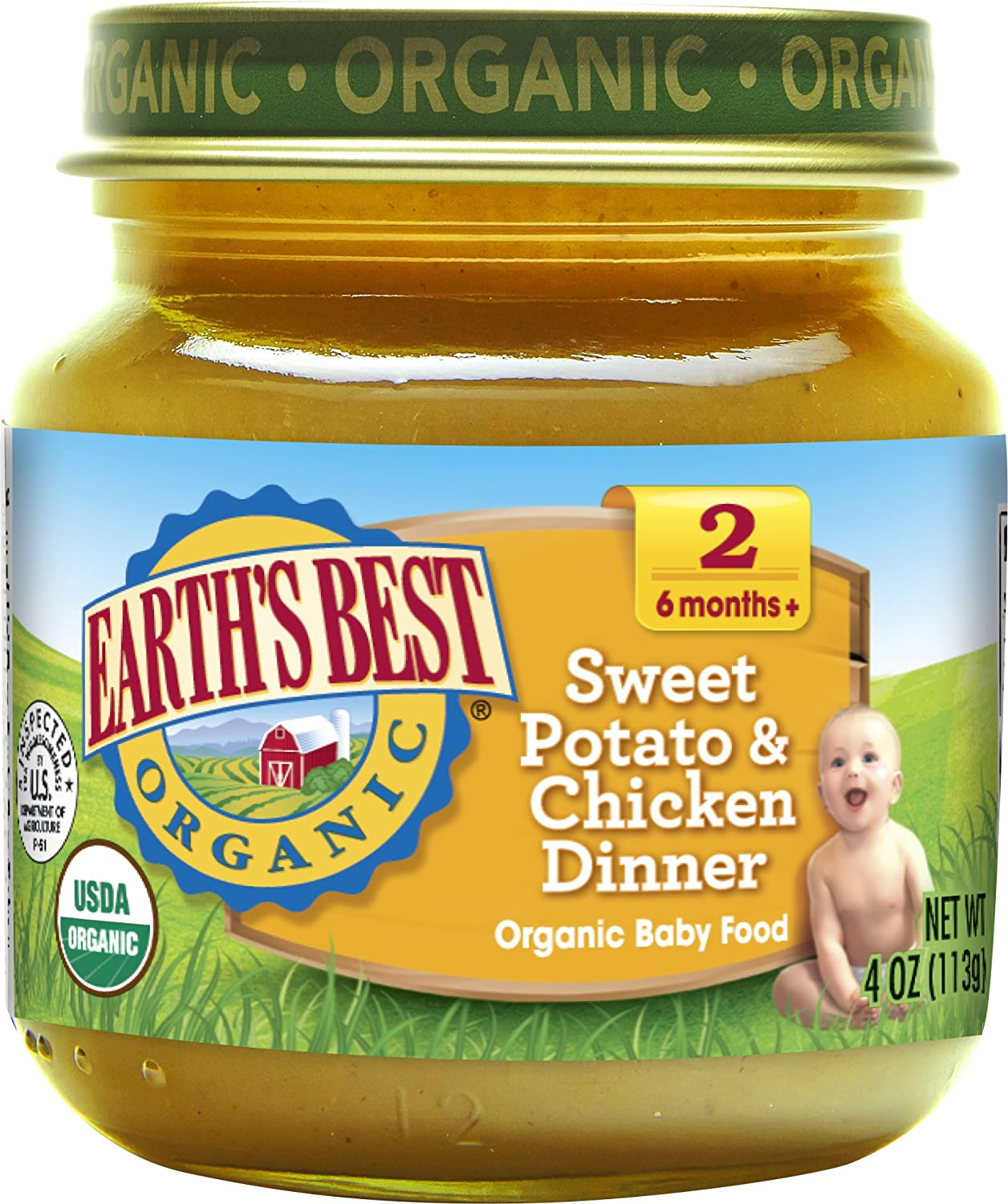 Earth's Best Organic Stage 2 Baby Food, Sweet Potato and Chicken Dinner, 4 oz. Jar