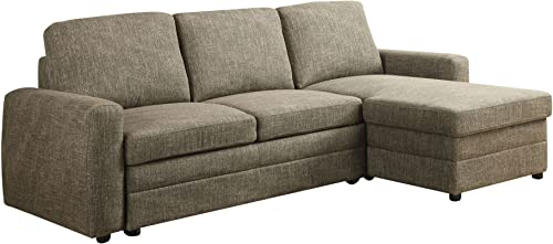 Major-Q 9051645 36 H Contemporary Casual Style L Shape Sectional Sofa Chaise with Pull-Out Sleeper and Storage in Light Brown Linen Fabric