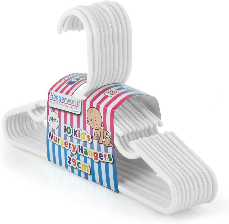 HANGERWORLD 20 White 11.4inch Plastic Kids Coat Clothes Garment Pants Skirt Bar Baby Toddler Hangers