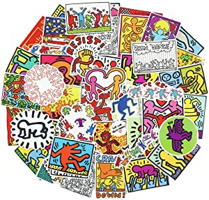 Keith Haring Art Graffiti Stickers for Laptop 50pcs Funny Skateboard Luggage Notebook Cars Decals
