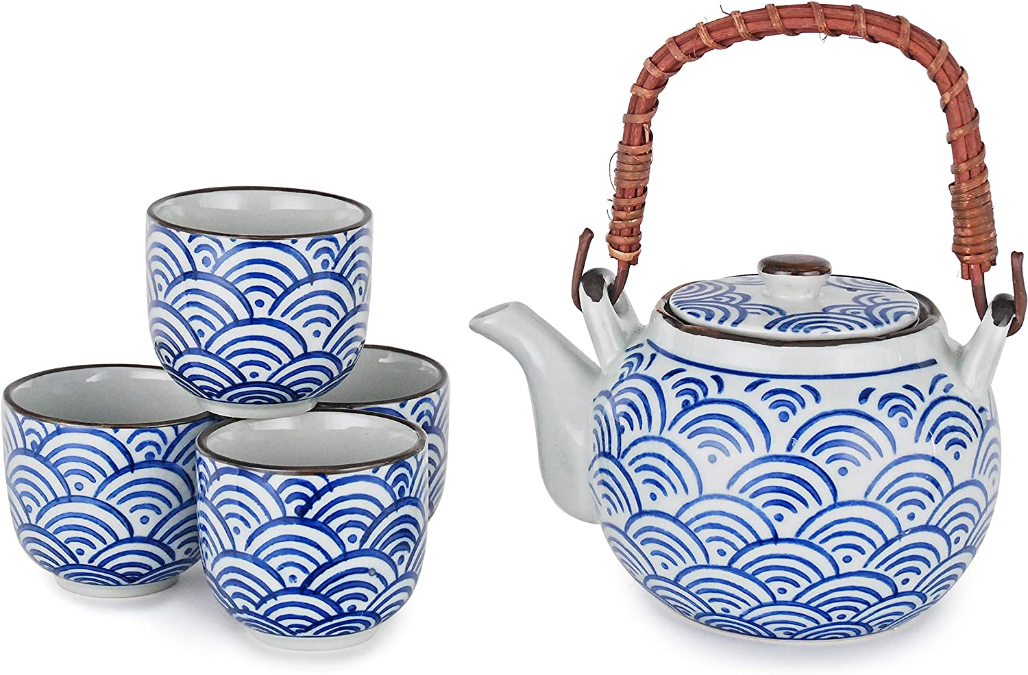 Hinomaru Collection Japanese Style Tea Set Porcelain 22 fl oz Teapot with Rattan Handle and 4 Tea Cups Stainless Steel Strainer (Seigaiha Waves)