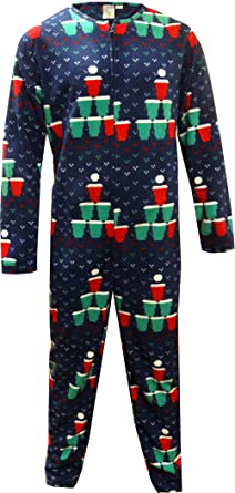 Beer Pong Christmas Tree One Piece Union Suit Pajama for men (Small)