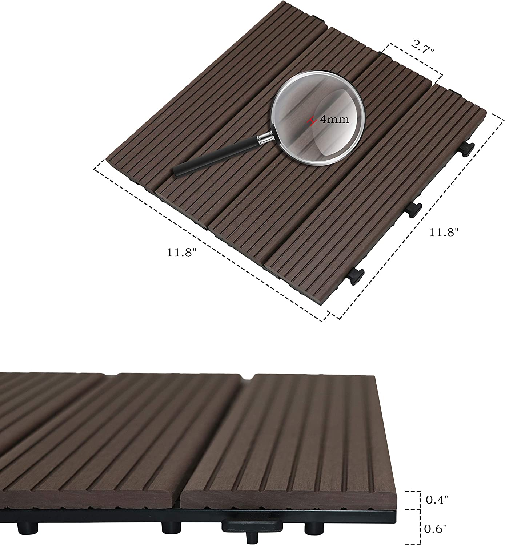 Flesser Deck Tiles 12x12 Interlocking Outdoor Composite Wood Tiles,Pack of 10