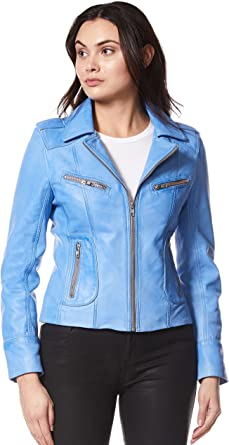 Ladies Real Leather jacket blue Designer Motorcycle Lambskin Biker Style 9334