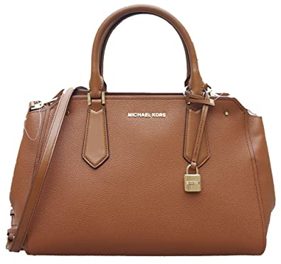 72af4b994582 Amazon.com  Michael Kors Hayes Large Leather Satchel Bag Luggage Brown   Shoes