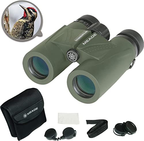 Meade Instruments Wilderness 10×32 Waterproof Compact Lightweight Outdoor Bird Watching Sightseeing Sports Concerts Travel HD Binoculars for Adults Multi-Coated BaK-4 Prisms With Carrying Bag