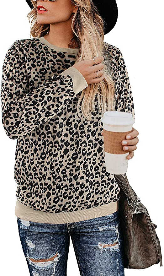 BMJL Women's Leopard Print Tops Crew Neck Sweatshirt Long Sleeve Cute Hoodies Pullover (Large, Leopard01)