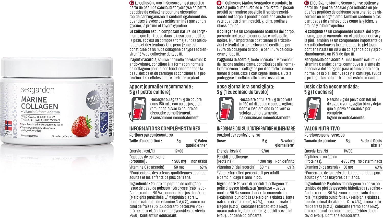 Polvo de colágeno marino noruego + vitamina C | Sabor a fresa | Péptidos hidrolizados | de bacalao noruego, ártico y salvaje | Suplemento para la ...