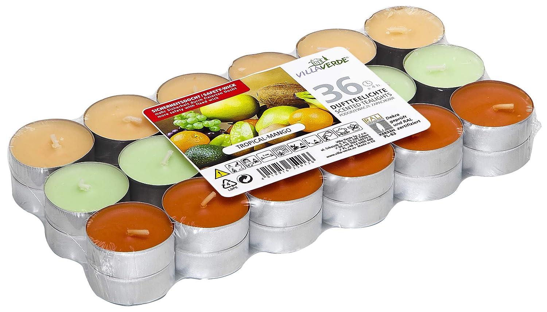 Bougie Chauffe-Plat Bougie Chauffe-Plat Bougie Chauffe-Plat en alluminium avec Une Odeur agr/éable Smart Planet/® Lot de 36 Bougies Chauffe-Plat Ambiente Tropical Mango
