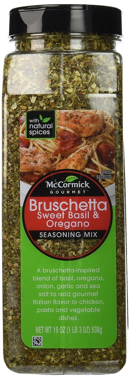 McCormick Gourmet Bruschetta seasoning mix, sweet basil & oregano, 19-oz., plastic shaker