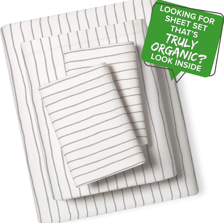 Pillowcase Kids Teens MakeMake Organics Organic Sheet Set Full Flat Sheet Full, Gray Stripes 4 Piece GOTS Certified Organic Cotton Sheets Full Bed Set Dreamy Soft Anti Allergy Non Toxic Fitted