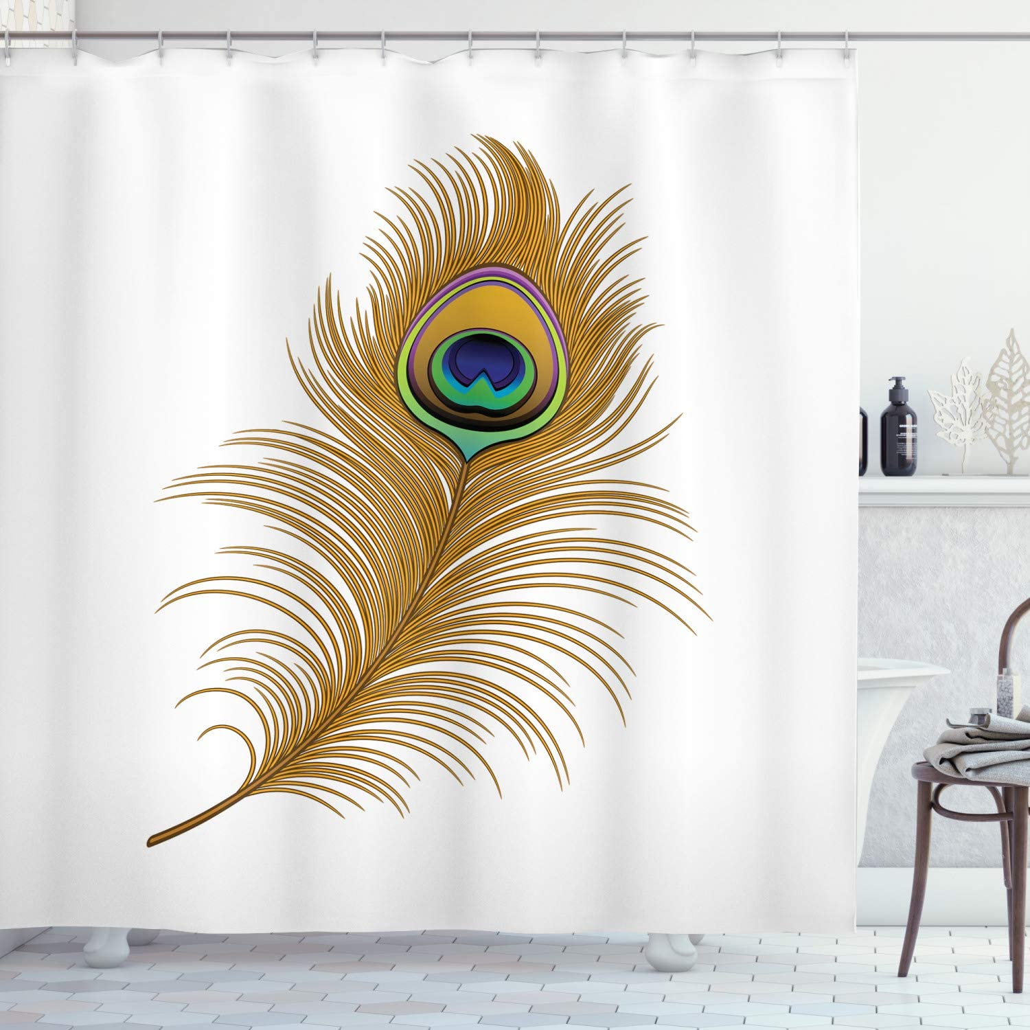 Amazon Com Ambesonne Peacock Shower Curtain Exotic Alluring Bird With Feathers Wildlife Nature Image Print Cloth Fabric Bathroom Decor Set With Hooks 84 Long Extra Mustard Green Navy Home Kitchen