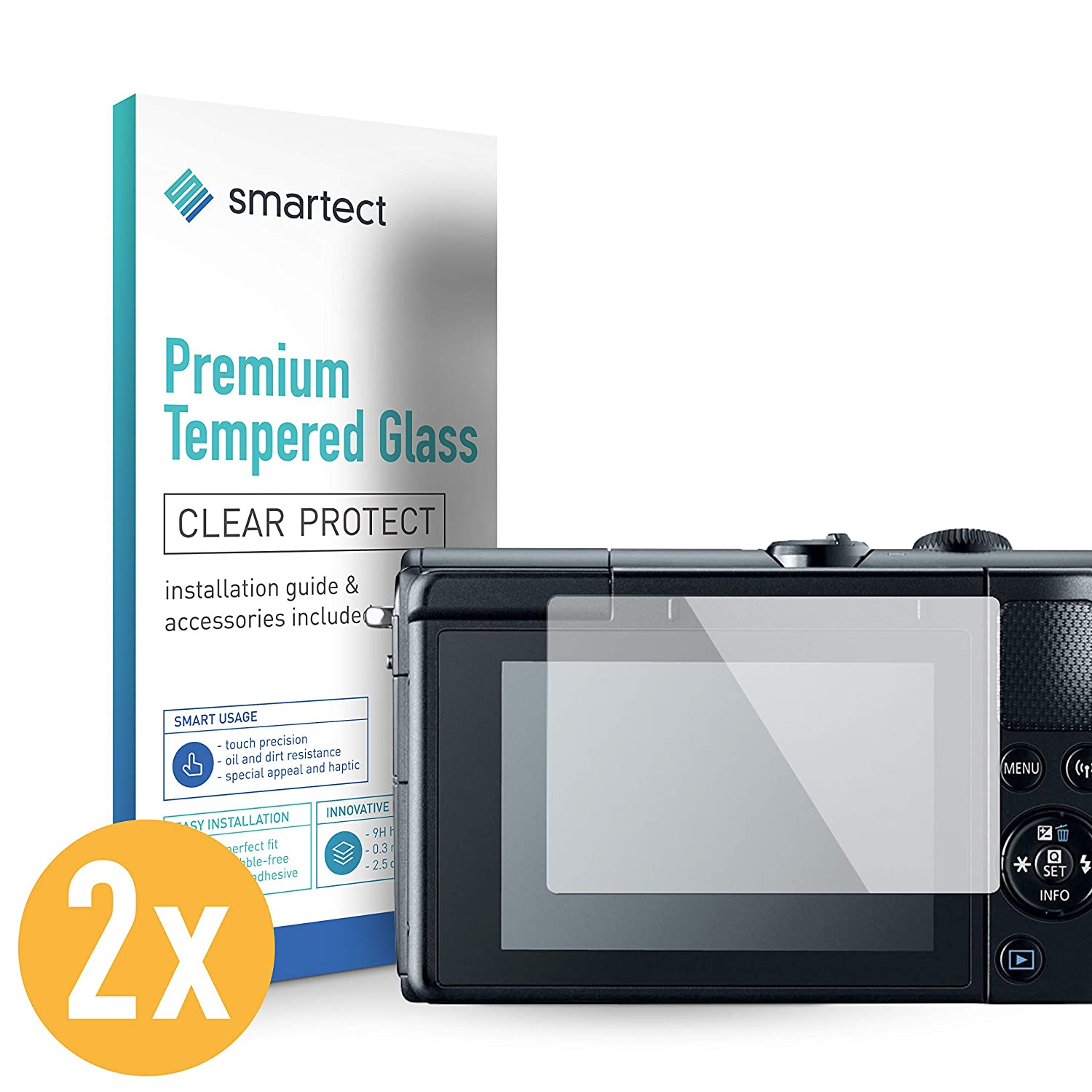 - 9H Tempered Glass smartect Glass Screen Protector for Canon EOS M100 2 Pack Bubble-Free Installation Ultra-Thin Design Anti-Fingerprint