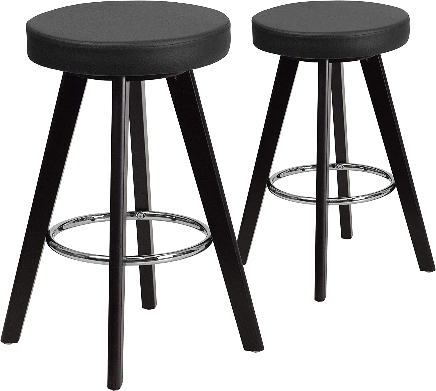 Flash Furniture 2 Pk. Trenton Series 24'' High Contemporary Cappuccino Wood Counter Height Stool with Black Vinyl Seat