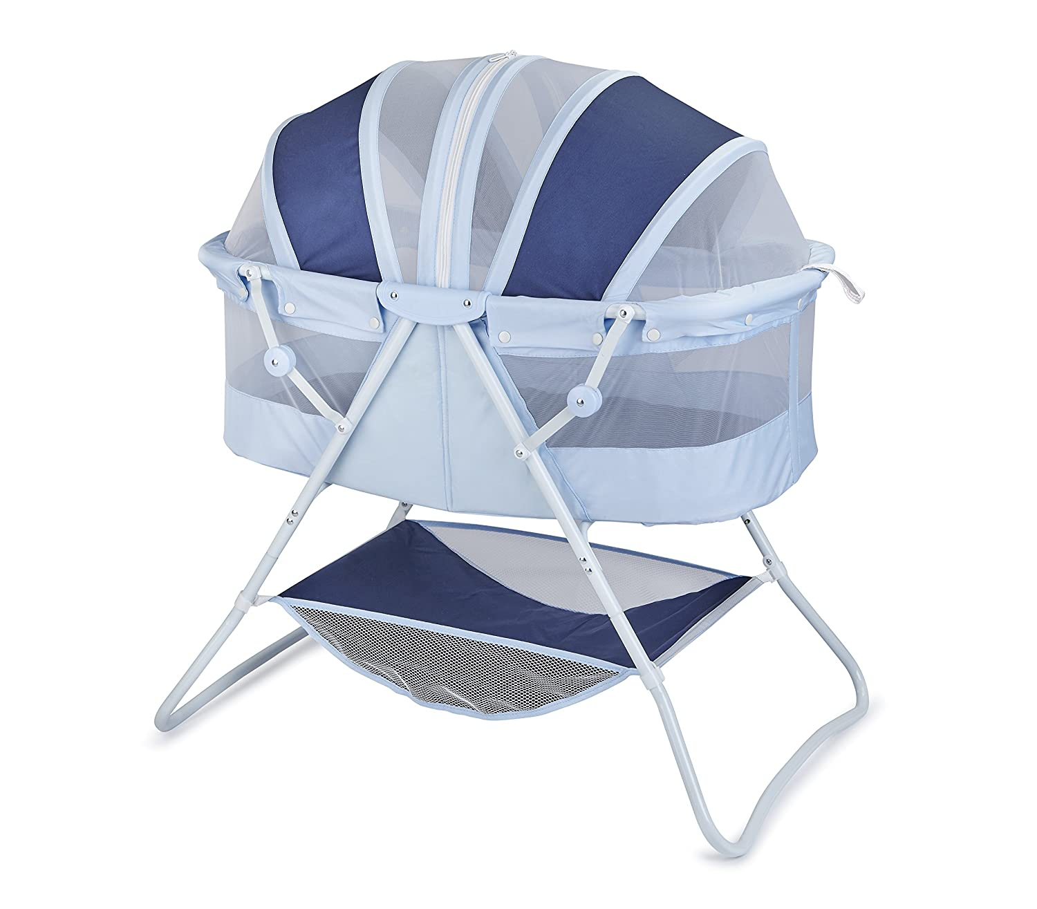 Big Oshi Emma Newborn Baby Bassinet – Portable Bassinet for Boys or Girls – Perfect for Bedside, Indoors, or Outdoors – Lightweight for Travel – Canopy Netting Cover – Wood Bed Base, Navy