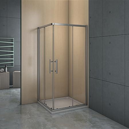 Mampara de ducha angular - 2 Fijas + 2 Correderas, Puertas Correderas 120x90x195cm: Amazon.es: Bricolaje y herramientas