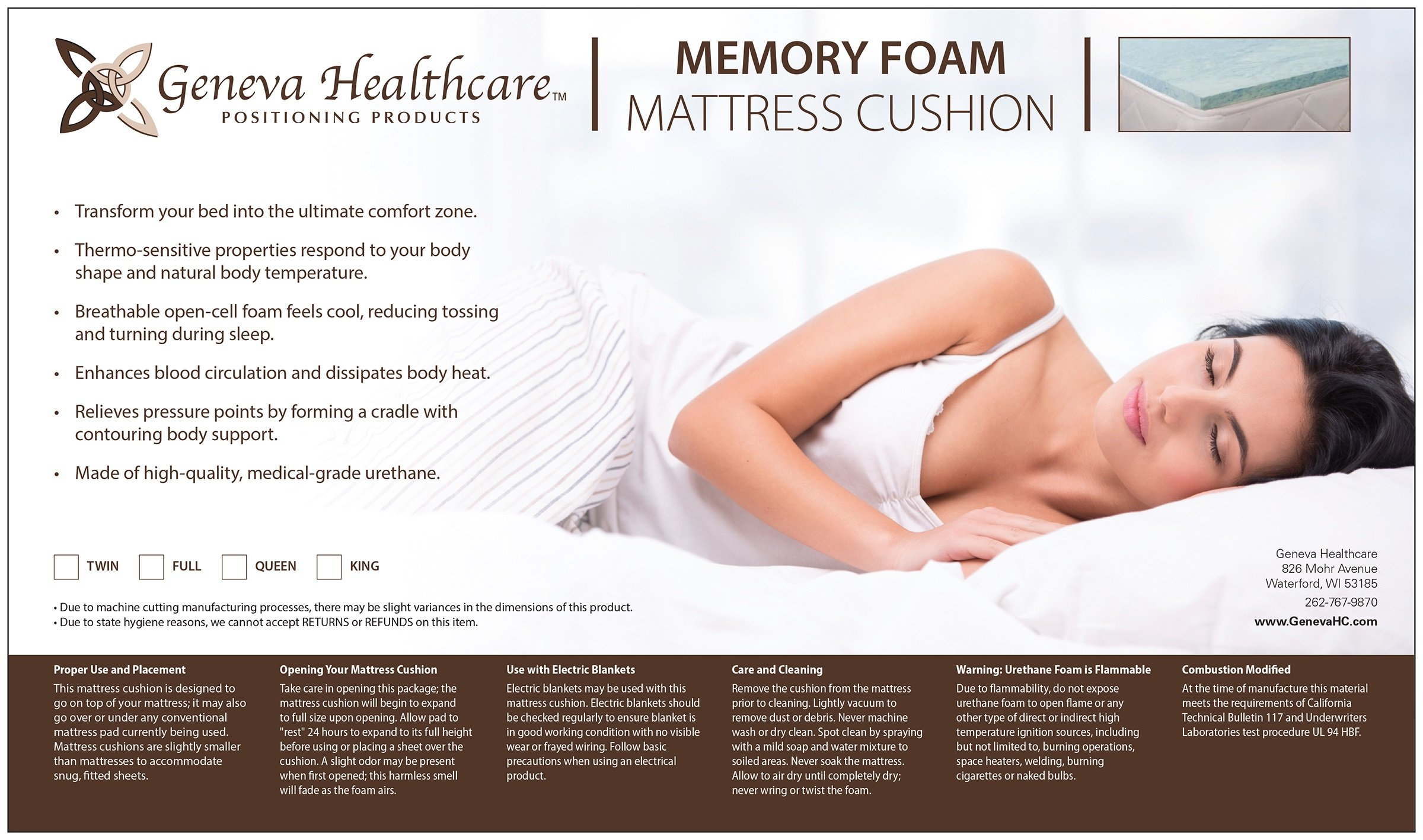 Geneva Healthcare Gel/Visco Memory Foam Mattress Pad 2'' Queen Topper - 2'' x 60'' x 80''