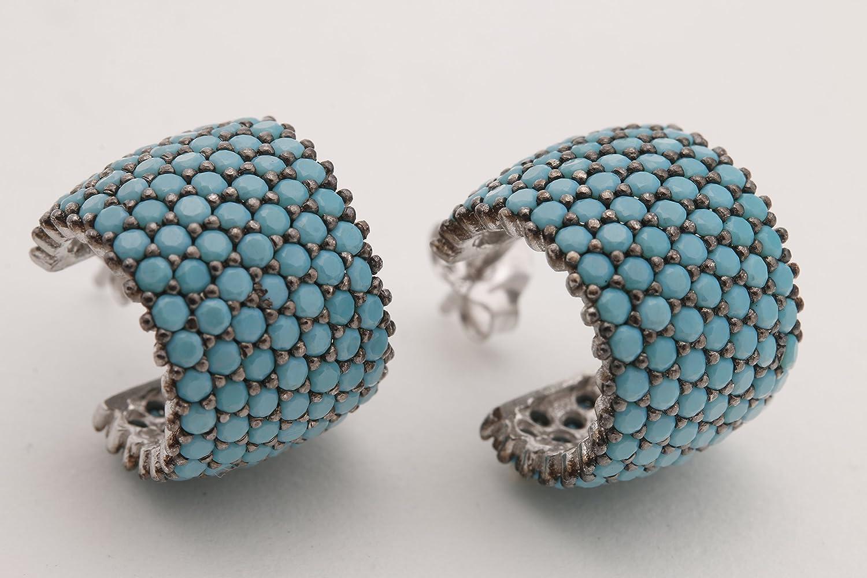 Sterling Silver 925 Hoop Earrings With Turquiose Stones