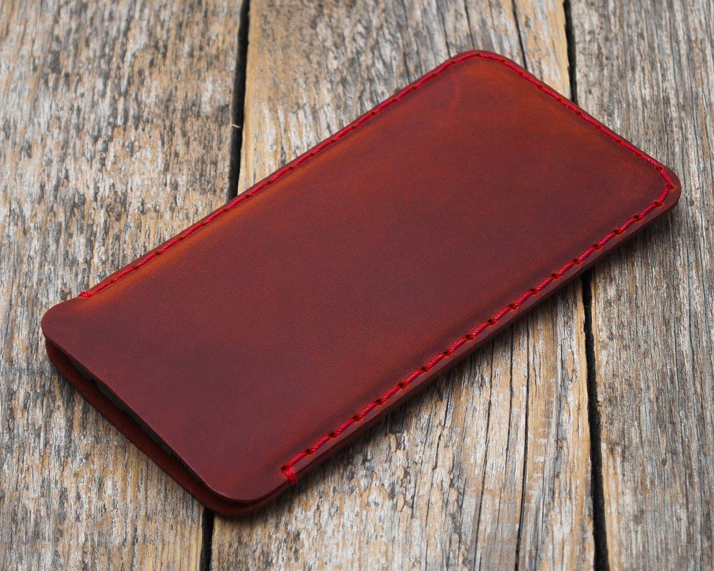 Rojo funda de cuero para iPhone XS Max, 8 Plus, 7 Plus, 6/6s Plus caja de funda bolsa. Cosido a mano.