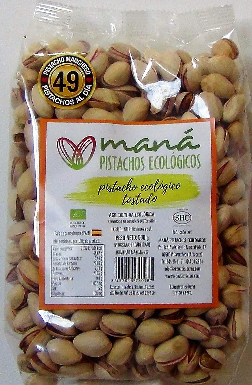 Maná Pistachos Ecológicos - Pistacho manchego ecológico (Crudo con cascara, sin sal, cultivado en España y con procesos de agricultura ecológica, ...