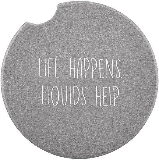 Life Happens Grey 3 Inch Ceramic Car Drink Coaster Pack of 2