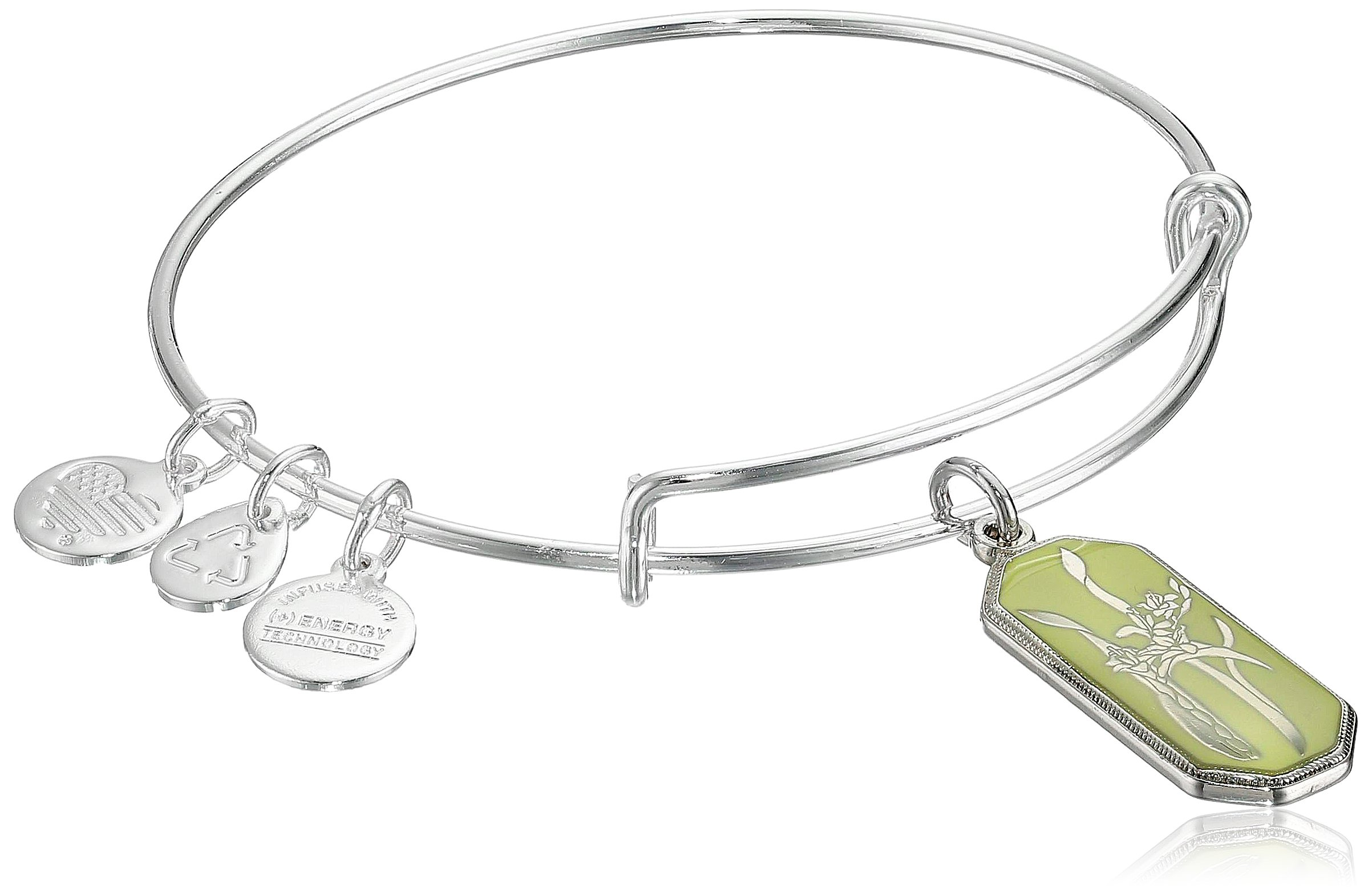 Alex and Ani Warrior's Will Gladiolus Shiny Silver Expandable Wire Bangle Bracelet