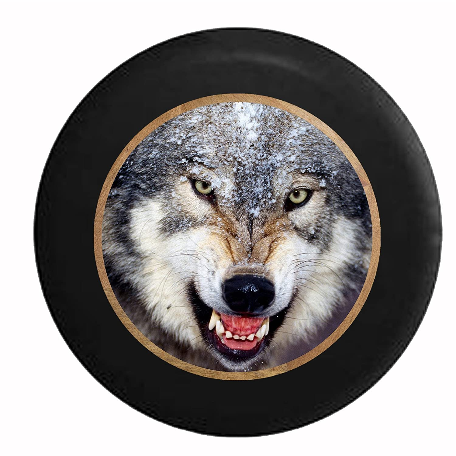 Full Color Snarling Grey Wolf Wild K9 Golden Eyes in the Snow Jeep RV Camper Spare Tire Cover Black 33 in