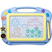ikidsislands IKS85B [Travel Size] Color Magnetic Drawing Board for Kids & Toddlers - Non Toxic Mini Magna Sketch Doodle Educational Toy for Boys, with 1 Pen & 2 Stamps (Blue)