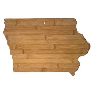 Totally Bamboo 20-7967IA Iowa State Shaped Bamboo Serving & Cutting Board