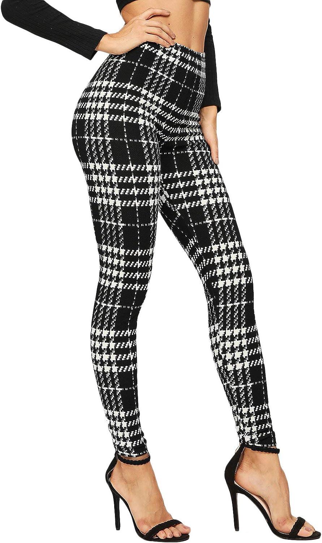 DIDK Femme Legging /à Carreaux Ecossais Taille Elastique Pantalon Long Plaid Slim Casual Leggings De Sport D/écontract/é