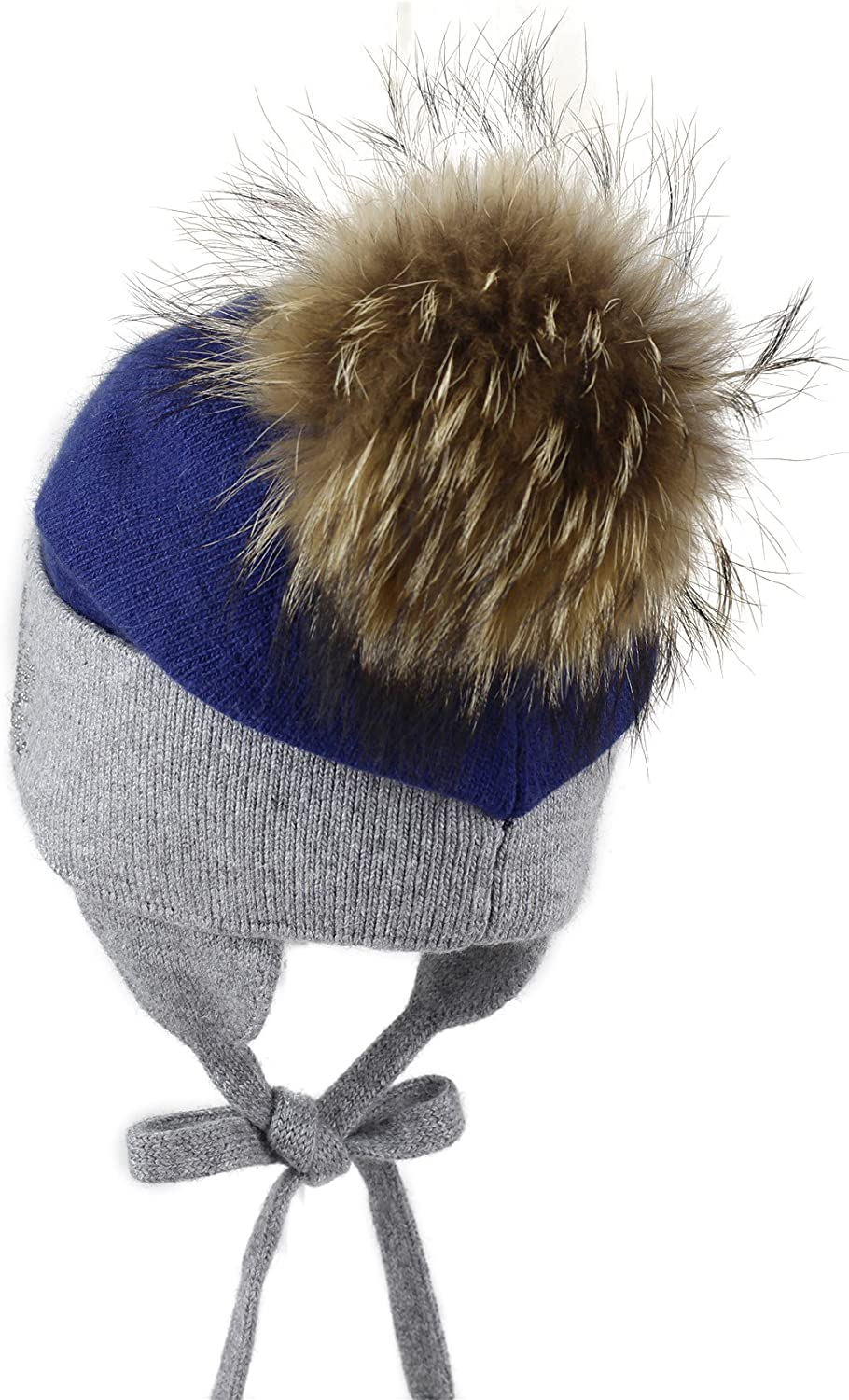 Kids Wool/&Angora with Rhinestones and Removable Natural-Fur Pom Warm Beanie 3-7 y.o.