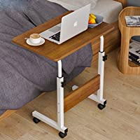 360° Rotating Sofa Bed Side Table, Mobile End Table with Storage Shelves, Movable Laptop Table with Sturdy Metal Frame…